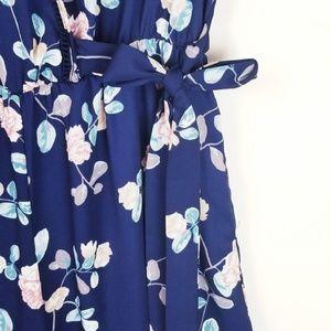 Sienna Sky Pants - Sienna Sky Navy Faux Wrap Chiffon Floral Jumpsuit